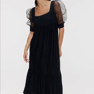 Zara knit dress organza sleeve bloggers favorite